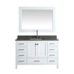 "54"" London Single Vanity w/ Gray Quartz Top & Mirror-White"