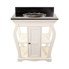 "30"" Vineta Single Sink Bath Vanity - Antique White/Black Top"