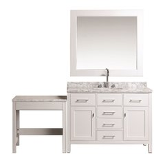 "48"" London Single Sink Vanity w/ Make-up Table - White"