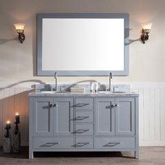 "61"" Cambridge Double Sink Bathroom Vanity - Gray"