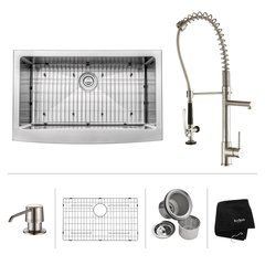 "33"" Farmhouse Single Bowl Kitchen Sink Package-Stainless"