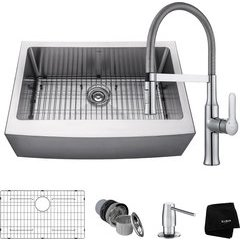 "30"" Farmhouse Single Bowl Kitchen Sink Package Chrome"