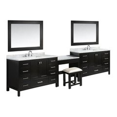 "84"" London Single Sink Vanity w/ Make Up Table - Espresso"