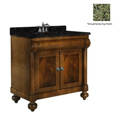 "36"" John Adams Single Sink Vanity w/ Green Top- Brown Cherry"