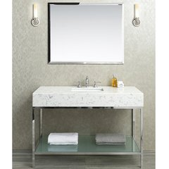 "48"" Brightwater Single Sink Vanity w/ Quartz Top - Steel"