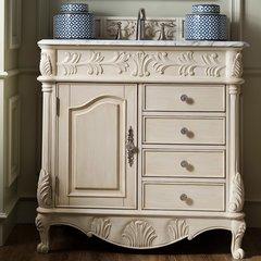 "36"" St. James Single Vanity w/Carrara White Top-Vint Vanilla"
