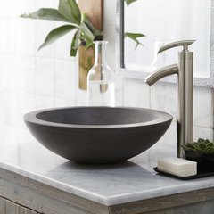 "17"" Round Morro Vessel Bathroom Sink - Slate"