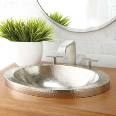 "21"" x 14"" Hibiscus Drop-In Bathroom Sink - Brushed Nickel"