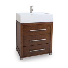 """28"""" Briggs Single Sink Bathroom Vanity - Chocolate"""