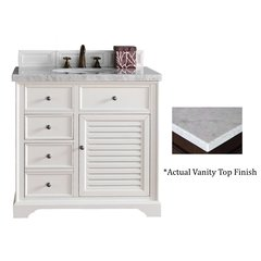 "36"" Savannah Single Vanity w/Cararra White Top-Cottage White"