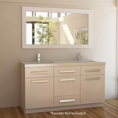 "60"" Moscony Double Sink Bathroom Vanity - White"