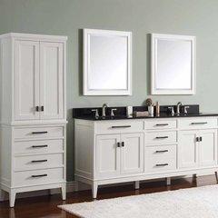 """73"""" Madison Double Vanity - White w/ Black Top"""