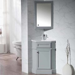"27"" Hampton Corner Single Vanity - Gray/White Top"