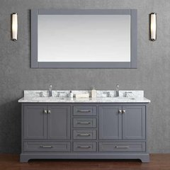 "72"" Chanel Double Vanity - Gray/White Carrara White Top"