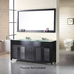 "61"" Waterfall Double Sink Bathroom Vanity - Espresso"