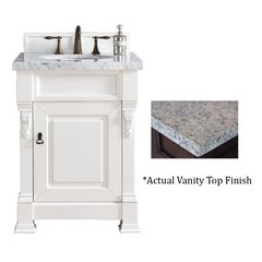 "26"" Brookfield Vanity w/ Santa Cecilia Top - Cottage White"