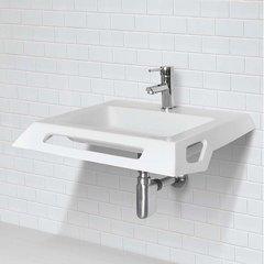 """DECOLAV 18-17/21"""" x 25-11/29"""" Wall Mount Bathroom Sink - White 1833-SSA"""