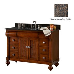 "48"" John Adams Single Sink Vanity w/ Brown Top- Brown Cherry"
