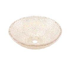 "16"" x 5-1/2"" Glass Vessel Bathroom Sink- Crystal Reflections"