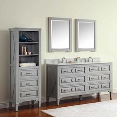 "61"" Kelly Double Vanity - Grayish Blue w/ Carrara White Top"