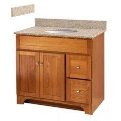 "Worthington 36"" Oak Vanity - Mohave Beige Granite Top - Oak/Mohave Beige"