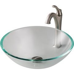 16.5 Inch Single-Tone Vessel Sink with Faucet - Crystal Clear/ Brushed Nickel