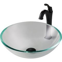 16.5 Inch Single-Tone Vessel Sink with Faucet - Crystal Clear/Matte Black