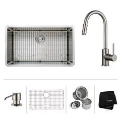 "32"" Undermount Single Bowl Kitchen Sink Package-Stainless"