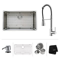 "32"" Undermount Single Bowl Kitchen Sink Package-Chrome"