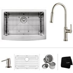 "30"" Farmhouse Single Bowl Kitchen Sink Package Stainless"