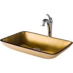 13.88 Inch Multi-Color Vessel Sink with Faucet - Gold/Chrome