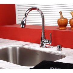 One Handle Pull-Out Kitchen Faucet & Soap Dispenser Chrome