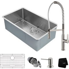 "32"" Undermount Single Bowl Kitchen Sink Package Stainless"