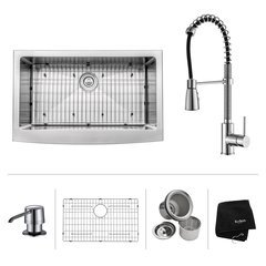 "33"" Farmhouse Single Bowl Kitchen Sink Package-Chrome"