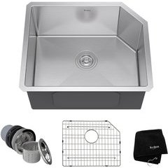 "23"" Undermount Single Bowl Kitchen Sink Stainless Steel"