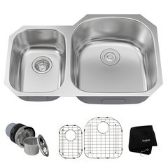 "32"" Undermount Double Bowl Kitchen Sink-Stainless Steel"