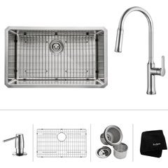 "30"" Undermount Single Bowl Kitchen Sink Package Chrome"