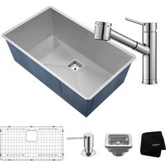 "Pax 31.5"" Undermount Single Bowl Kitchen Sink Package Chrome"
