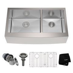 "36"" Farmhouse Double Bowl Kitchen Sink-Stainless Steel"
