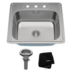 "25"" Top Mount Single Bowl Kitchen Sink-Stainless Steel"