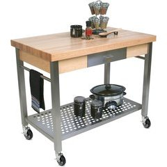 48 Inch x 28 Inch x 40 Inch Kitchen Cart - Northern Hard Rock Maple