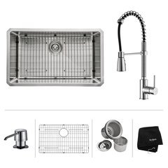 "30"" Undermount Single Bowl Kitchen Sink Package-Chrome"