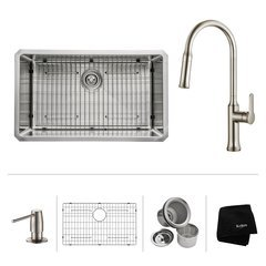 """30"""" Undermount Single Bowl Kitchen Sink Package-Stainless"""