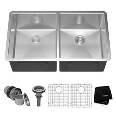 "33"" Undermount Double Bowl Kitchen Sink-Stainless Steel"