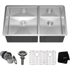 "33"" Undermount Double Bowl Kitchen Sink Stainless Steel"