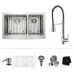 "33"" Farmhouse Double Bowl Kitchen Sink Package-Chrome"