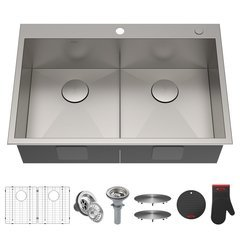 Pax 33 Inch Length 22 Inch Width Rectangular Kitchen Sink - Satin
