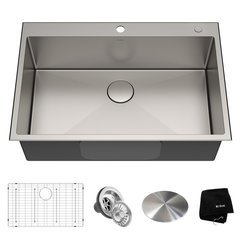 Standart PRO 33 Inch Length 22 Inch Width Rectangular Kitchen Sink - Satin