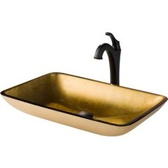 13.88 Inch Multi-Color Vessel Sink with Faucet - Gold/Matte Black