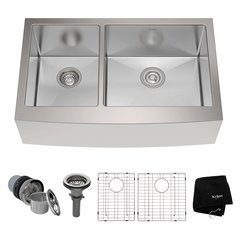 "33"" Farmhouse Double Bowl Kitchen Sink-Stainless Steel"